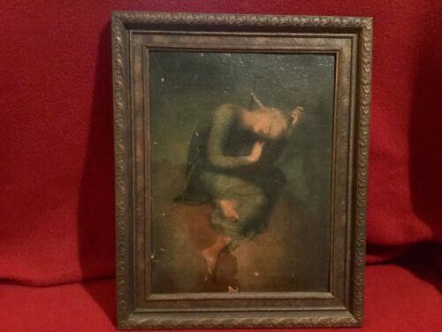 """Vtg. Ornate Wood Frame approx. 11.5""""x14"""" with damaged old picture (no glass)🌲"""