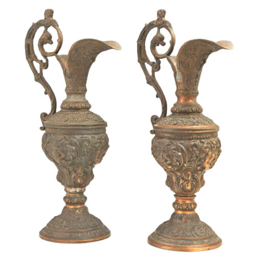 Pair of Copper Patinated Spelter Baluster Ewers, 19th c, 1800s
