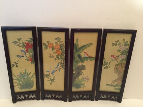 "Chinese Asian Dollhouse Miniature Four Panel Framed Silk Screen 14""x 9.5""x .5"""