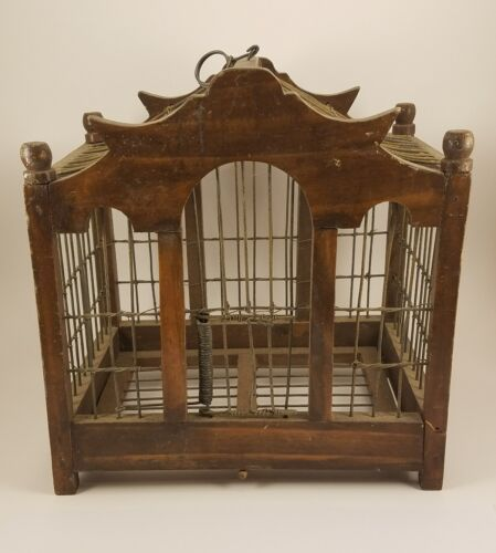 Antique Chinese Wooden Bird Cage Birdcage Box Wood Qing