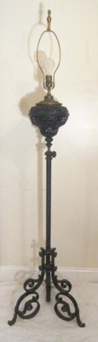 antique high quality 1800s Victorian wrought iron bronze electric floor oil lamp