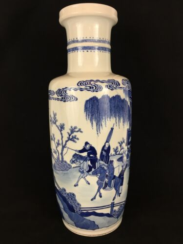 Large Chinese Blue & White Rouleau Form Vase 18th Century, Qing Dynasty, Xangxi