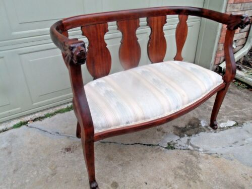 Very Fine Antique Mahogany Carved Lion Heads Settee Early 1900s