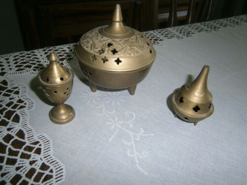 Vintage Brass Chinese Footed Incense Burner with Lid  Lot of 3