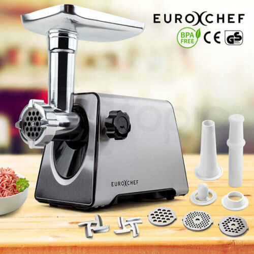 NEW Meat Grinder Electric Stainless Steel Mincer Sausage Kebbe Maker Kitchen <br/> 3x Grinding Plates, Air Circulation System, 2500W