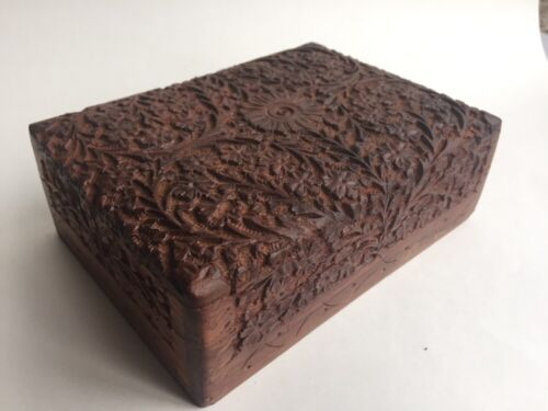 Intricately Carved Wooden Jewelry Trinket Box Vintage or Antique India?