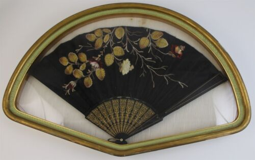 Antique Chinese Export Victorian Hanging Framed Hand Fan With Floral Embroidery