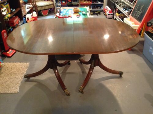 Vintage Kittinger Mahogany Dining Table W/ Insert, Mid 1900's