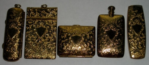 RARE Antique 5pc Gold Repousse CHATELAINE PIN CASE Notepad WALLET Perfume Bottle