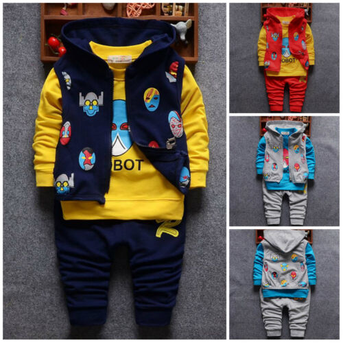 3pcs Kids Baby clothes baby boys autumn cotton waistcoat+top+pants outfits robot