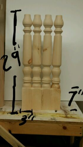 Set Of  Four turned Table island Legs Unfinished pine wood 29 x  3""