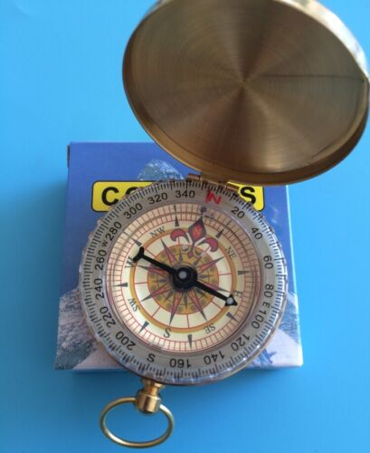 NEW Pocket Compass Brass Gold Travel Camping Hiking Navigation Small Handy New