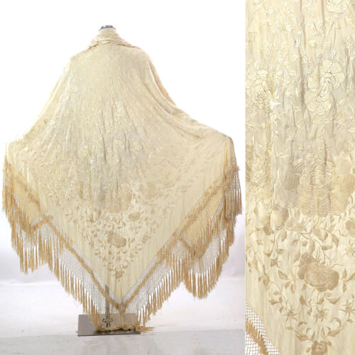 Antique Victorian large heavily embroidered floral silk piano shawl cream white