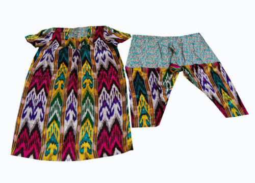 OLD UZBEK HAND EMBROIDERED SILK IKAT CHEMISE WITH WIDE TROUSER OF BAYSUN