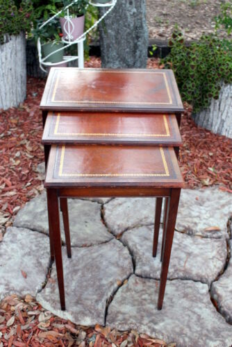 Vintage Early Henredon Nesting Table Trio With Leather Tops