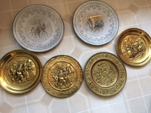 Lot 6 Vintage England Stamped Metal Plates Wall Hanging Decorative Brass