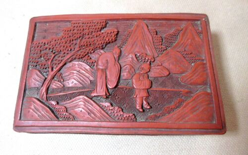 antique hand made carved Chinese red lacquer cinnabar wood figural dresser box