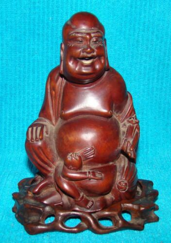 Antique Carved Wood Buddha with Child on Fitted Base