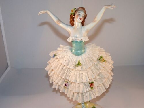 Fabolous Volkstedt Germany Dresden Lace Large Ballerina Lady  Porcelain Figurine