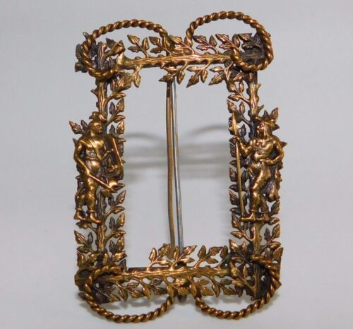 ANTIQUE MINIATURE ORNATE VIKINGS/WARRIORS METAL TABLE TOP PICTURE FRAME 3""
