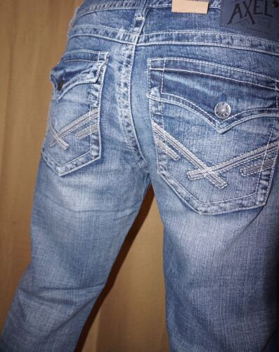 NEW TAGS Men's Axel Vintage Boot Denim Buckle Distressed Jeans 34x32