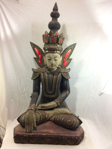 Large 19thC Burmese Seated Crowned Buddha Polychrome Paint w/ Mirror Accents 38""