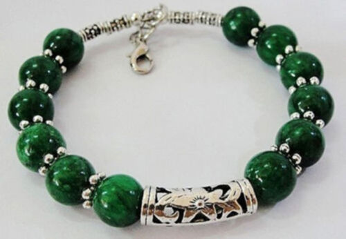 Beautiful handmade the Tibet silver green jade bracelet 7.5 ~ 8 inches