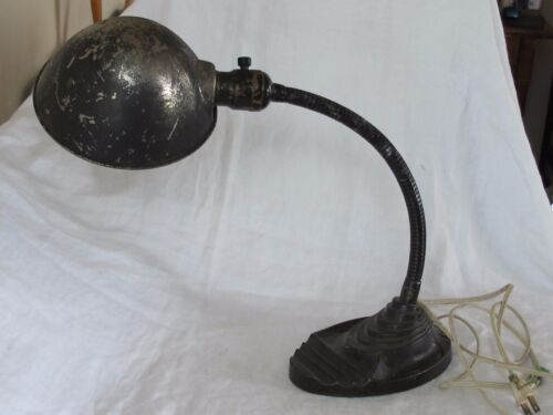 Vintage Eagle Art Deco Cast Metal Desk Lamp Industrial Steampunk Gooseneck