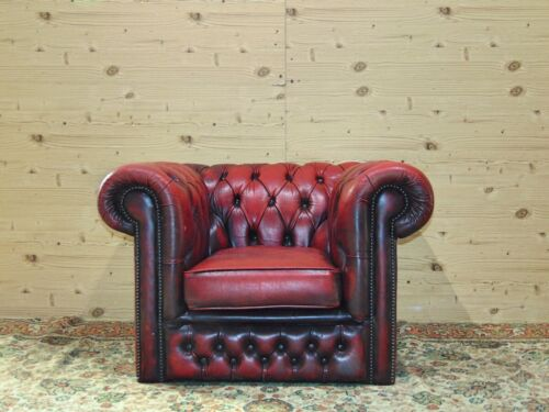 Poltrona Chesterfield Originale Inglese in Pelle Bordeaux antico