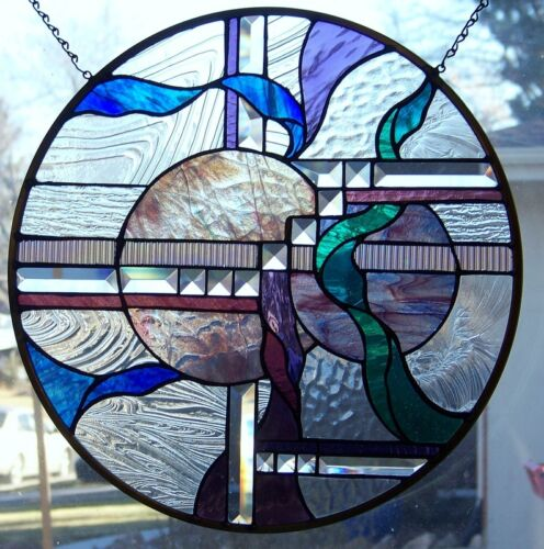 "Stained Glass window hanging 19 1/2"" in diameter"