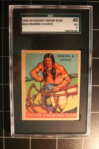 1933 Goudey Indian #212 Making A Canoe - Series of 312 - SGC-40