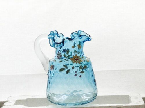 Antique painted thumbprint glass creamer