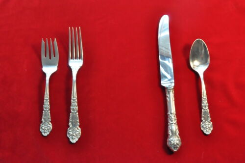 """Reed & Barton French Renaissance sterling 4 pc. Place Setting(s) """"M"""" mono fr"""