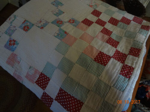 "Lovely Vintage Cottage Quilt/ 73""x70""/Great for porch swing!"