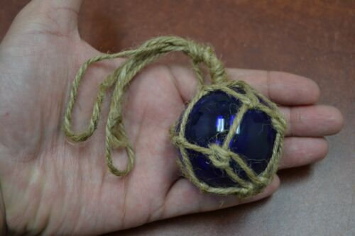 "REPRODUCTION COBALT BLUE GLASS FLOAT BALL BUOY WITH FISHING NET 2"" #F-362"