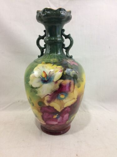 Beautiful Antique Royal Bonn Germany Hand Painted Handled Vase 11""