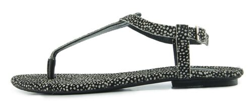 Maruti NEW Bella Frog black genuine leather animal t bar flat sandals 3-8 RP £50