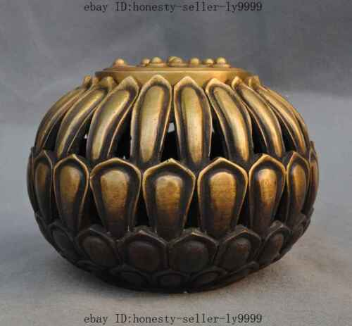 old chinese fengshui pure bronze lucky lotus flower statue Incense Burner Censer