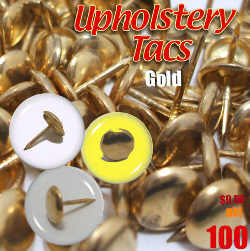 Upholstery Studs Pack Antique Studs 100 Tacks/Nails Tacs Bras /Gold Made Germany