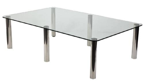 Zanuso For Zanotta Marcuso Dining Conference Table Inox / Crystal Knoll Eames