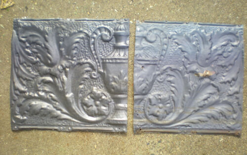 2 Antique Iridescent Victorian Ceiling Tin Tiles Acanthus Flowers Urn Leave Chic
