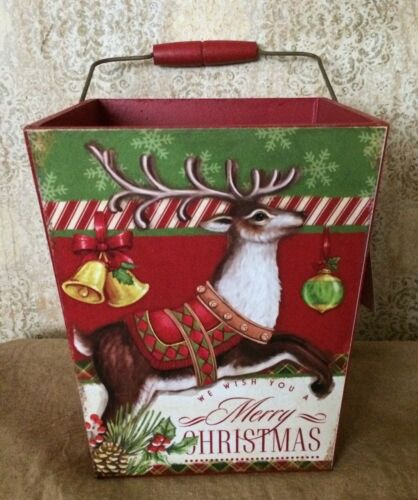 Primitive Country Vintage Style Wooden Christmas Bucket w/handle