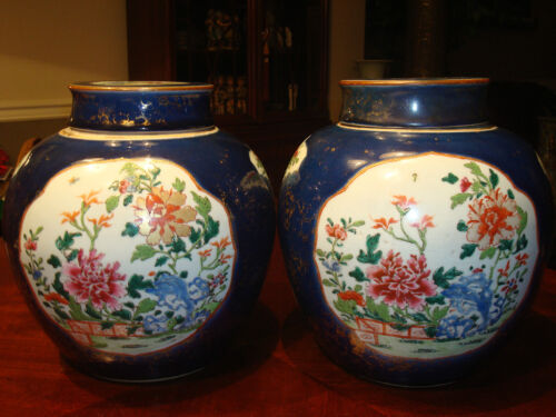 Pair Antique Chinese Famille Rose Jar Vases, Qianlong, 18th C