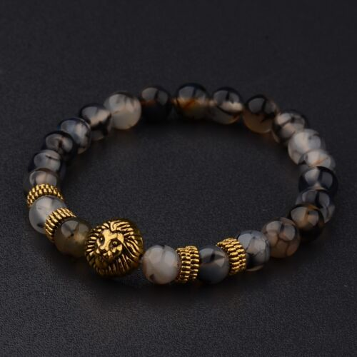 Fashion 8MM Men's Natural Stone Gold/Silver Lion Buddha Beaded Charm Bracelets