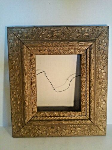 "Antique Primitive Gesso on Wood Picture Frame Ornate Highly Detailed 19"" x 16"""