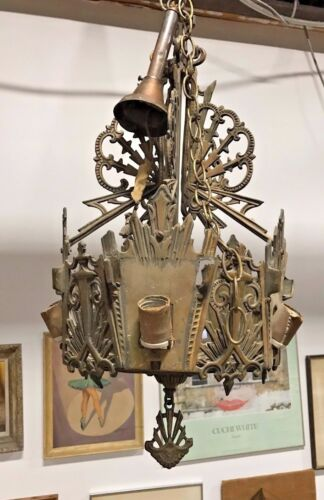 Beautiful Ornate Art Deco Gothic Ceiling Light Fixture Chandelier (BEARDSLEE?)