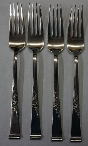 REED & BARTON STERLING SILVER (4) FORKS CLASSIC ROSE PATTERN 233.5 GRAMS