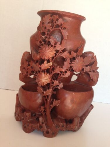 """Antique Chinese Carved Stone  Vase Bird & Flowers LARGE 9"""" x 7"""" 5lbs!"""