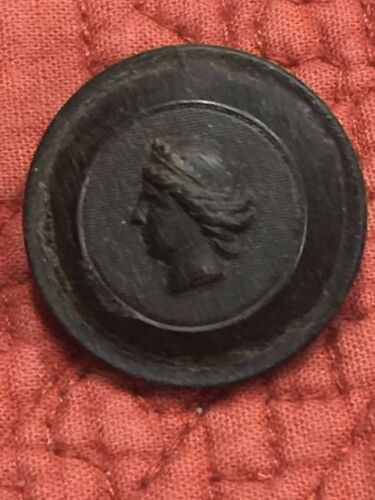 Vintage Black Cameo Portrait Picture Gutta Percha Composition Shank Button 1""