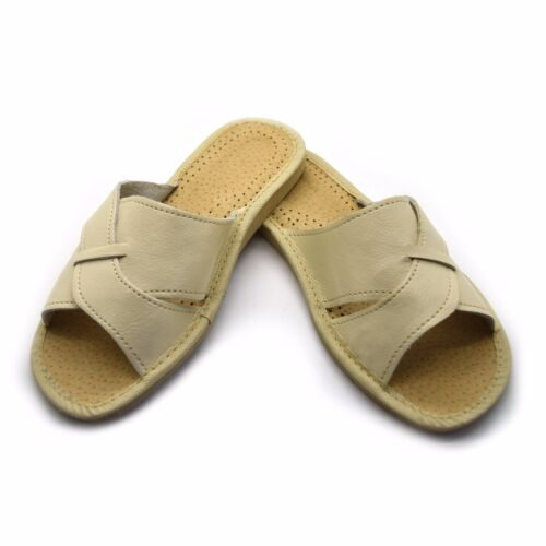 Womens Ladies Eco Leather Slippers Slip On Shoes 3 4 5 6 7 8 Mules Sandals Beige <br/> Handmade ☯ 5 Colours ☯ UK Stock ☯ Free & Fast P&P